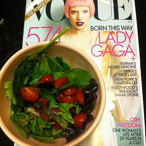 Pink bowl, pink hair, girlie salad