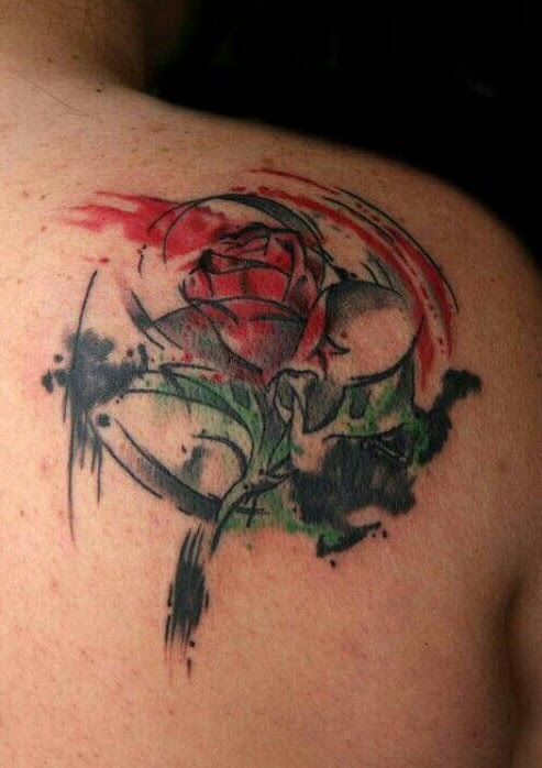 Beauty and the Beast watercolor rose tattoo / Source
