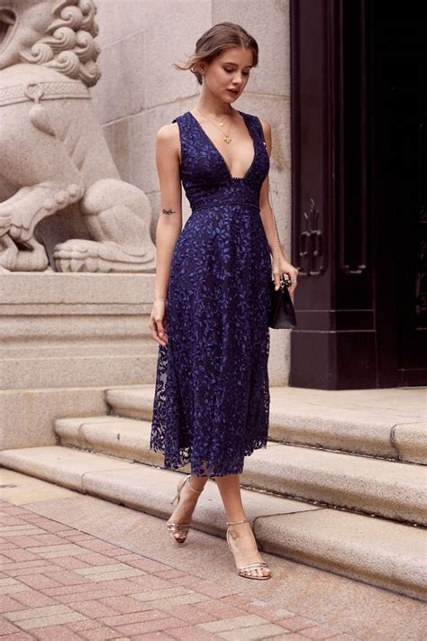 Augustine Embroidered Open Back Midi Dress (Navy) in 2019