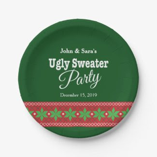 Ugly Sweater Christmas Party, Personalized 7 Inch Paper Plate