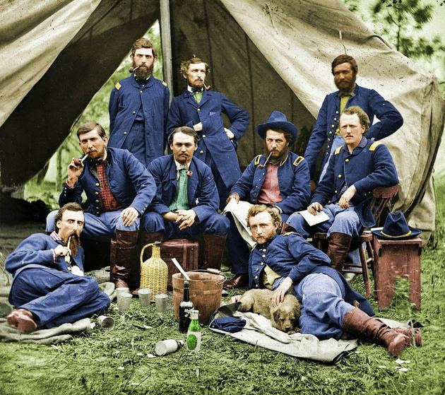 Lt. Custer and his troops in 1862