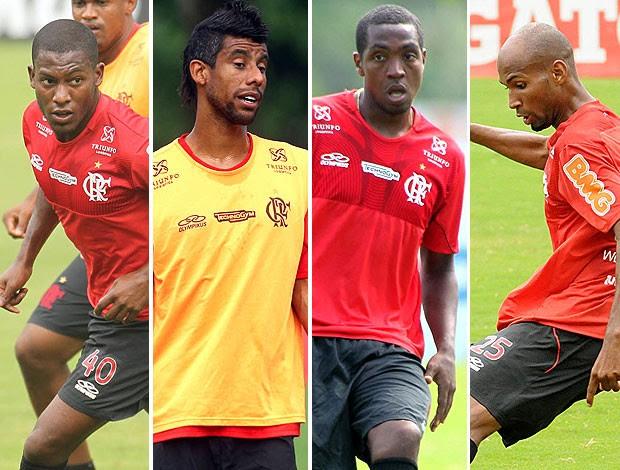 montagem Flamengo Léo Moura, Renato, Amaral e Wellington Silva (Foto: Editoria de Arte / Globoesporte.com)