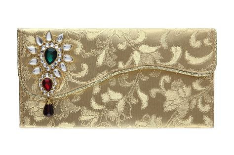Indian Wedding Envelope with Kundan Accessory