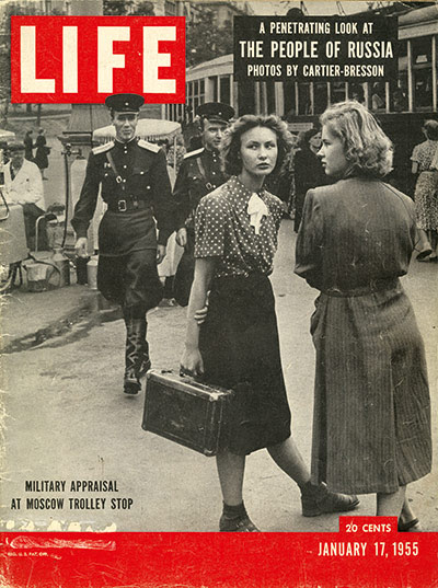 John G Morris auction: Military appraisal at Moscow trolley stop, 1954 (Life cover)