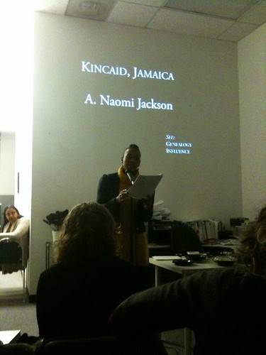 Naomi Jackson starting the Encyclopedia 2 Launch Reading @ AWP Conference, in DC