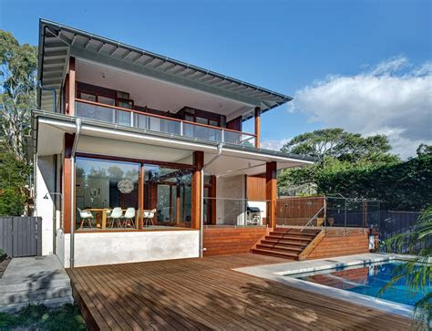australian home  spotted gum wood details  pool
