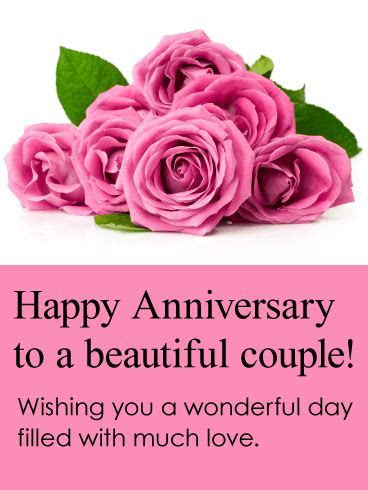 To a Beautiful Couple! Happy Anniversary Card: Love is out