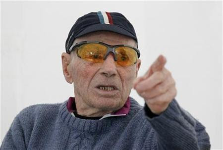 Robert Marchand, French centenarian, born November 26, 1911, and an amateur cyclist, speaks to journalists at the outdoor Tete-d'Or Velodrome track in Lyon September 27, 2012, on the eve of an attempt to establish a record for the fastest 100-year-old to cover 100km. REUTERS/Robert Pratta