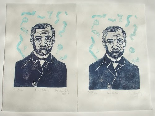 two thermochromic Pasteur prints BEFORE