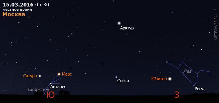 Сатурн, Марс и Юпитер на утреннем небе Москвы 15 марта 2016 г.