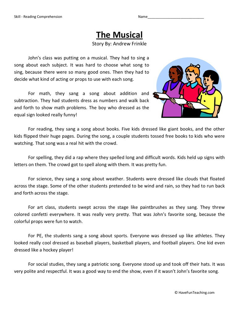 Reading Prehension Worksheet The Musical