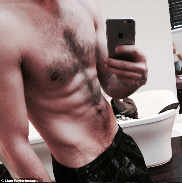 Abs-tastic: Liam Payne showed little sign of festive over-indulgence as he shared a shirtless selfie on Tuesday, quickly gaining over 100k likes on Instagram within minutes