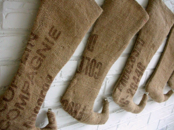 Burlap Christmas Stockings - Rustic Holiday Decor - Primitive Christmas - Elf Stockings - Elegant