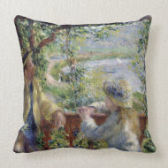 By the Water, Auguste Renoir throwpillow