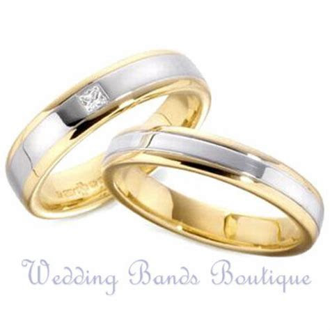 18K TWO TONE WHITE YELLOW GOLD HIS HERS MATCHING SET