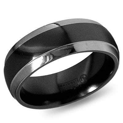 8mm Dome Step Down Edge Black Gray Titanium Wedding Band