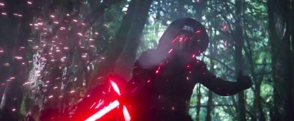 Kylo Ren deflects a blaster shot from Rey (off-screen) in STAR WARS: THE FORCE AWAKENS.