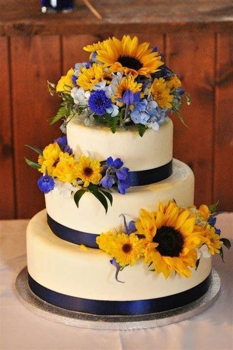 Navy blue and yellow wedding   sunflowers   wedding cake