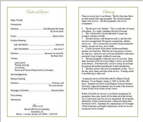 Sample Funeral Program   Memorial Booklet Samples