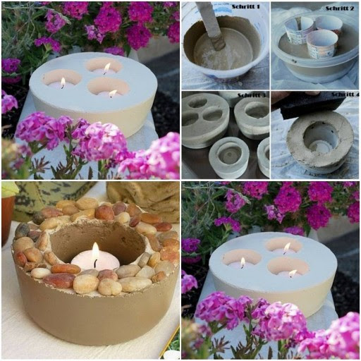 How To Make Concrete standing Candle holders step by step ...