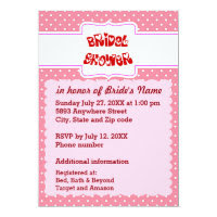 Pink & White Polka Dots Heart Text Bridal Shower 5x7 Paper Invitation Card