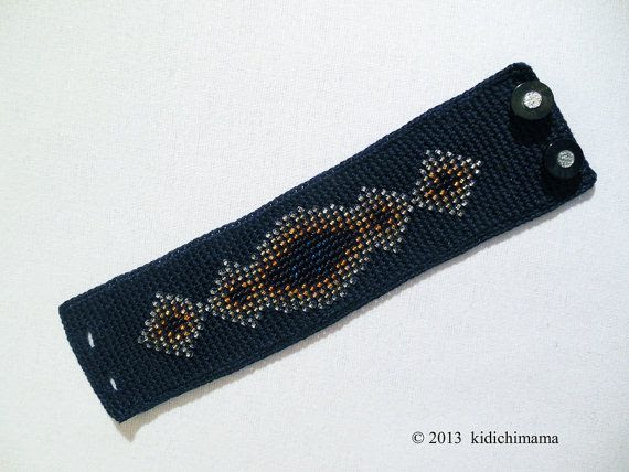 Crochet cuff bracelet handmade with beads on cotton by kidichimama, $36.00