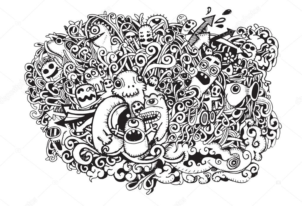 depositphotos_68163745 stock illustration crazy doodle monstersdoodle drawing style