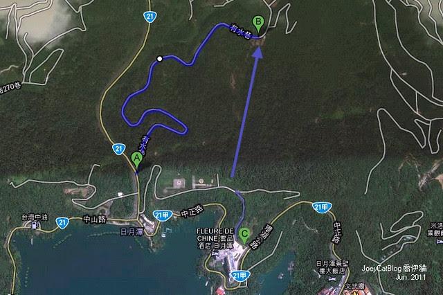 2011_0612_南投。日月潭水社親水步道,內湖山步道Google map