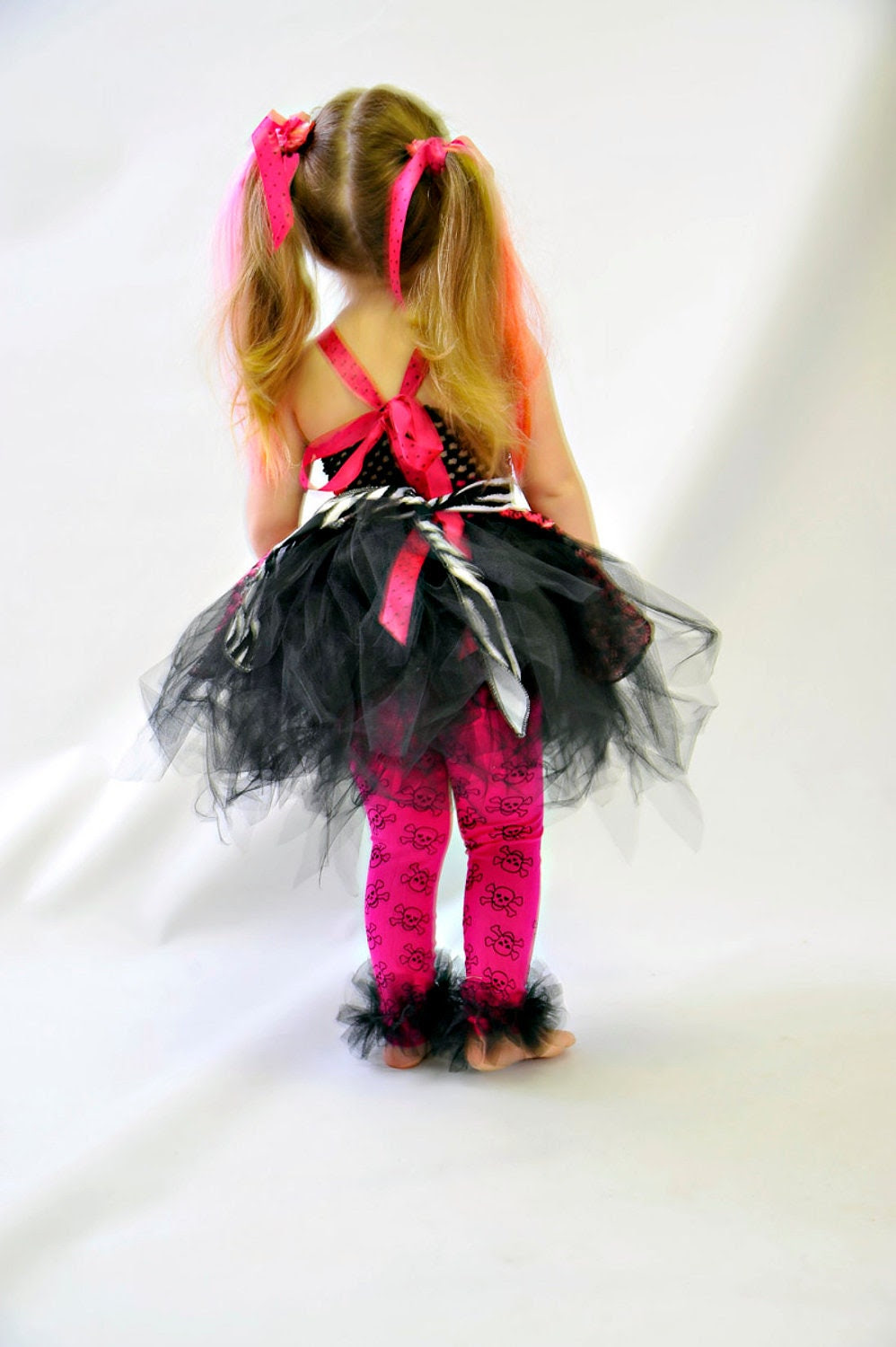 Monster High tutu dress with Apron 2pc set by Little Bunny Tutu - Perfect for Birthday or Halloween Costume - fits most girls size 2-4T
