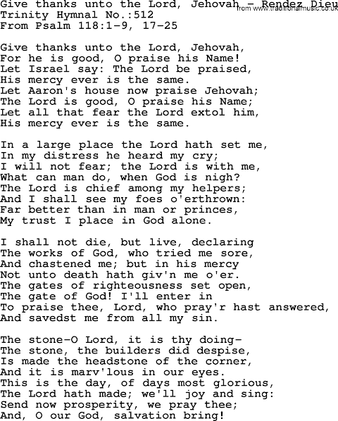 Give Thanks To The Lord Lyrics