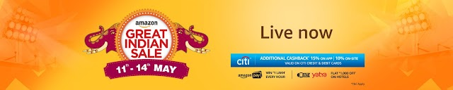 Amazon Great Indian Sale : Get 15% cashback on Citi Bank card + Yatra Voucher worth ₹1000+ Exclusive deals on Top brands