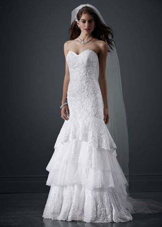 Petite Tiered All Over Lace Mermaid Wedding Dress   David