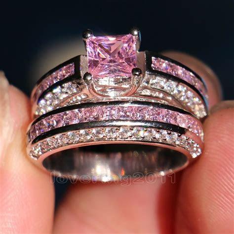 Brand Pink Sapphire Diamonique 10KT White Gold GF Wedding