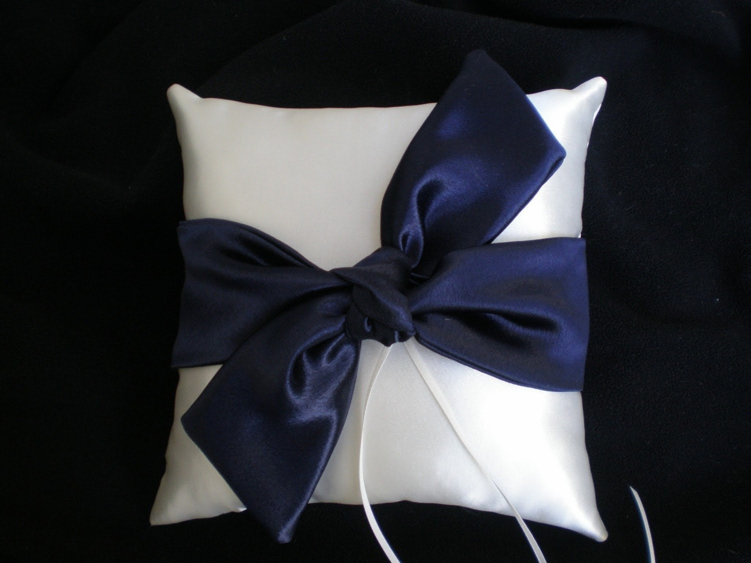 Tie the Knot Ring Bearer Pillow in IVORY and NAVY
