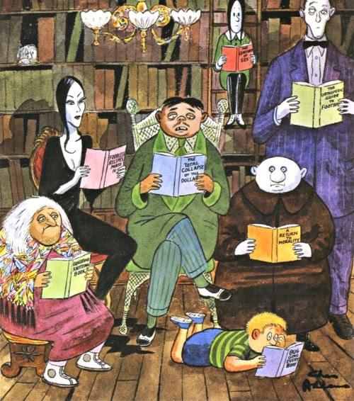Monstruosamente lectores (ilustración de Charles Addams)