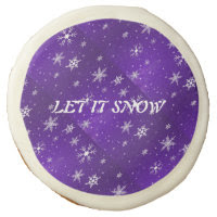 "White Snowflakes Blue-Purple Backgrd 3.5"" Cookies Sugar Cookie"