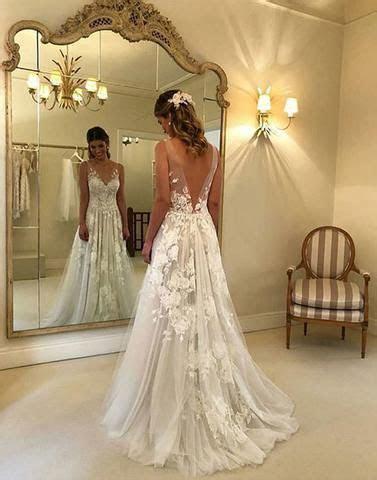 Chic White A line Prom Dress Deep V Tulle Floor Length