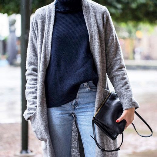 Le Fashion Blog Cool Casual Fall Style Long Wool Grey Coat Navy Ribbed Turtleneck Celine Leather Crossbody Bag Light Wash Denim Via Ellen Claesson