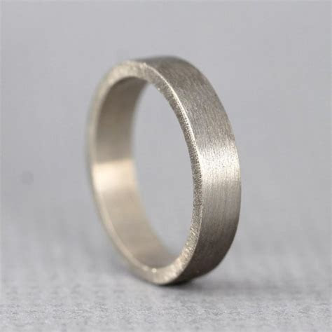 White Gold Men's Wedding Band   14K White Gold   Matte