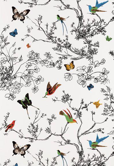 Birds and Butterflies (Schumacher) $165/roll.