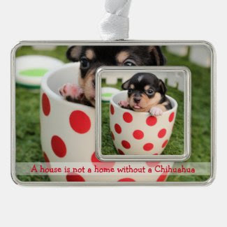 Chihuahua Christmas Ornament Framed With Photo Silver Plated Framed Ornament