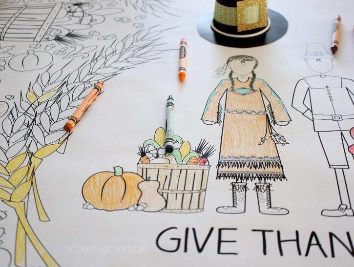 Download Thanksgiving Coloring Tablecloth - The Crafting Chicks