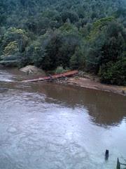 Fallen iron bridge on ABT Railway