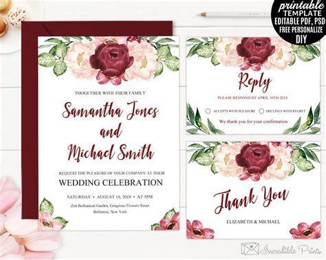 Burgundy Wedding Invitation Template. Printable Marsala