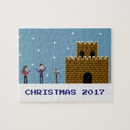 8Bit Geek Gamer Couple by a Snowy Castle Christmas Jigsaw Puzzle