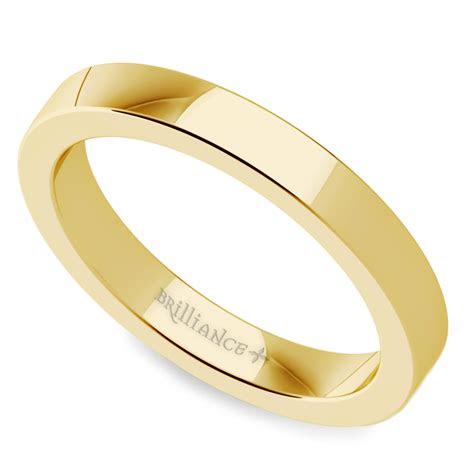 flat mens wedding ring  yellow gold mm