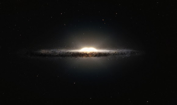 Artist's impression of the Milky Way, looking at it edge on. This makes the bulge at the center look like a peanut, astronomers say. Credit: ESO/NASA/JPL-Caltech/M. Kornmesser/R. Hurt.