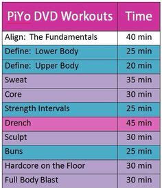 piyo workout schedule  calendar pinterest workout