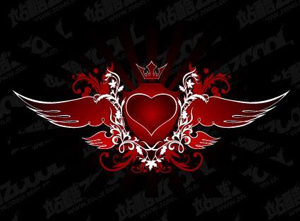 Bandera Roja Del Corazón Con Alas Con La Flecha De Vectores Gratis