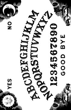 Printable large size Ouija board (looks like the Parker Bros ...